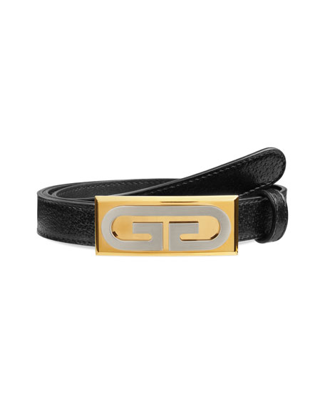 Image 1 of 1: Men's Skinny Leather Belt w/ Solid Buckle