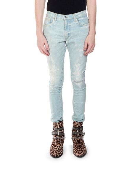 Men's Super Light Bruised Repaired Denim Jeans