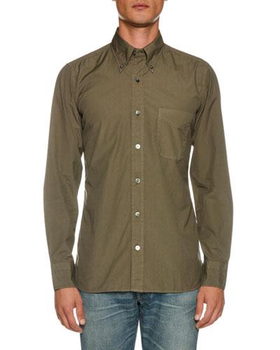 Men's Point-Collar Sport Shirt with Pocket