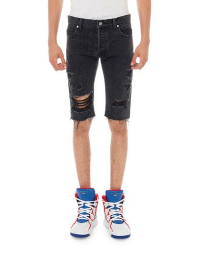 Men's Ripped Distressed Denim Shorts