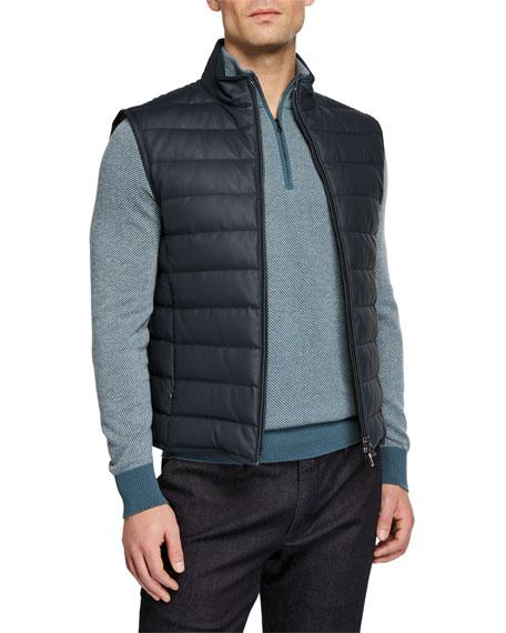 Men's Leather Puffer Vest