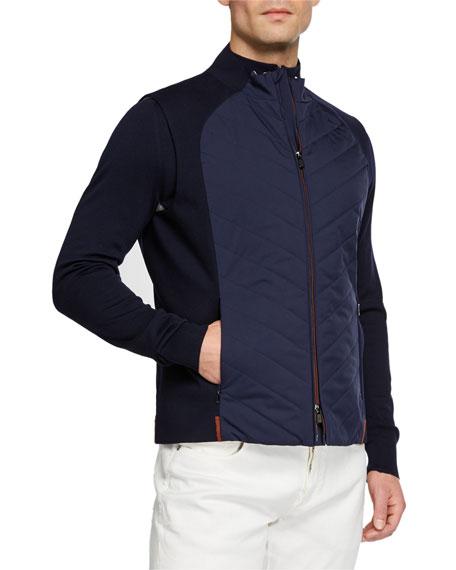 Men's Athletic Quilt-Front Zip-Front Vest