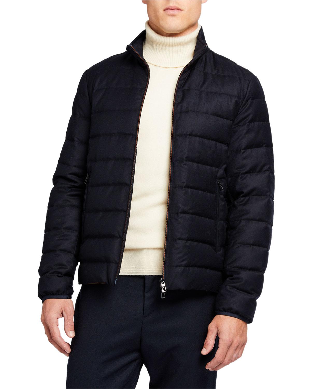 Loro Piana Men's Zip-front Puffer Jacket In Blue