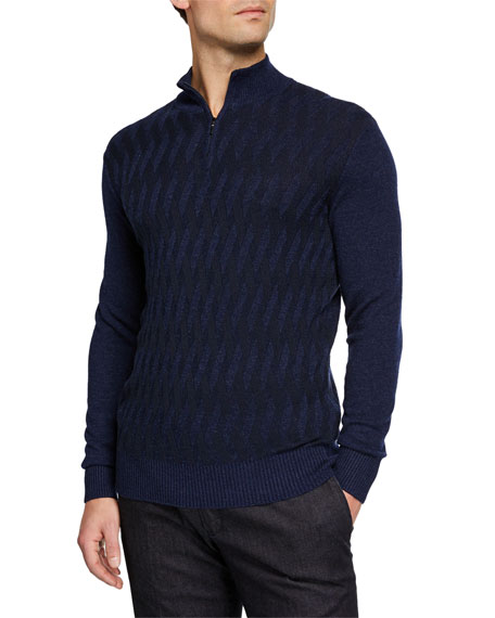 Men's Cashmere Cross Stitch Quarter-Zip Sweater