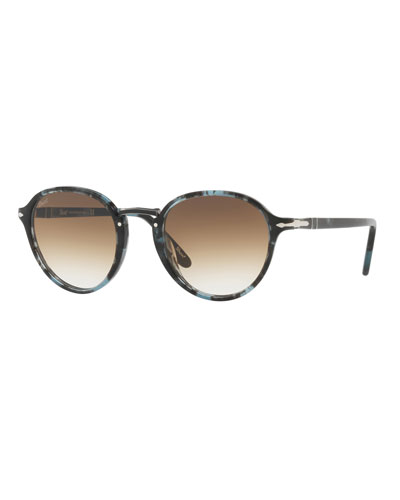 Men's Round Tortoiseshell Acetate Sunglasses