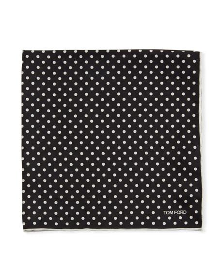 Polka Dotted Silk Pocket Square
