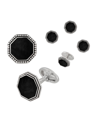 Beaded Octagonal Onyx Cufflinks & Studs Set