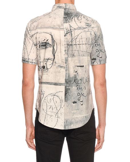 Men's Sketch Graphic Short-Sleeve Sport Shirt