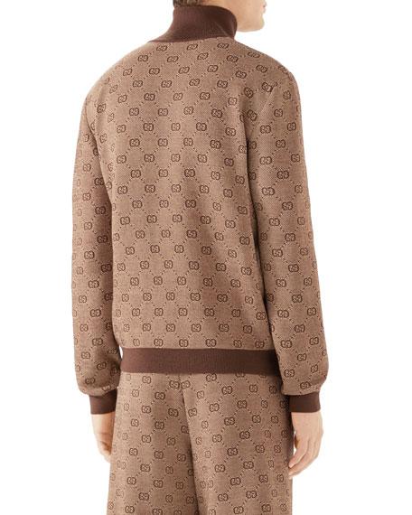 Men's GG Logo Zip-Front Turtleneck Sweater