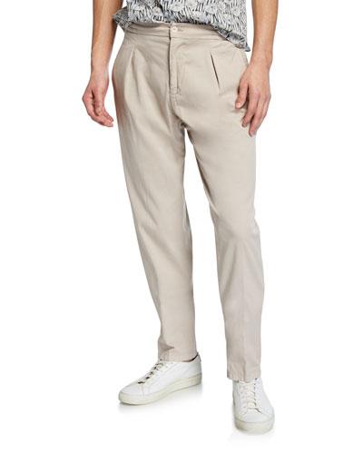 Men's Pleated Cotton/Silk Twill Pants