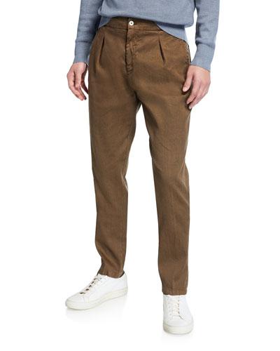Men's Linen-Cotton Pleated Pants