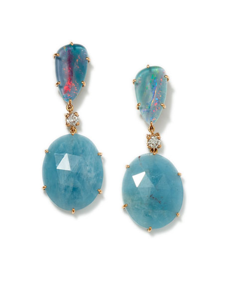 18K Rose Gold Bespoke Tribal Luxury 2-Tier Earring with Opal Triplet, Aquamarine, and Diamond