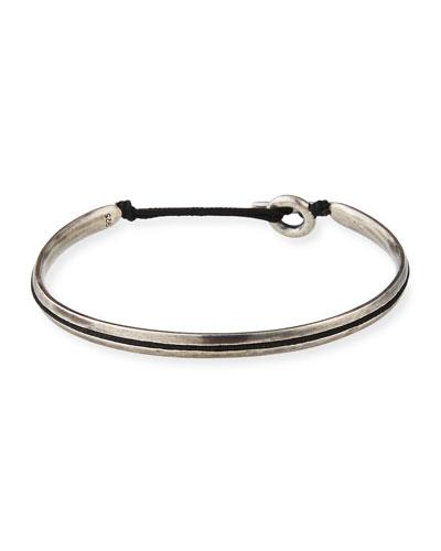 Men's Slim Oval Cuff Bracelet  Black