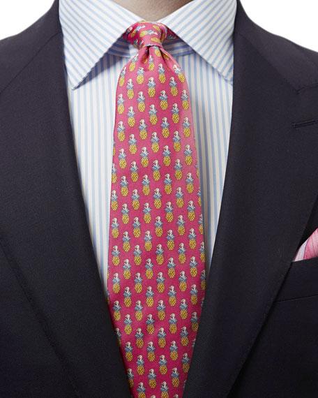 Pineapple & Bird Silk Tie