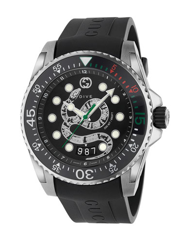 Men's Dive King Snake Stainless Steel Watch with Rubber Strap