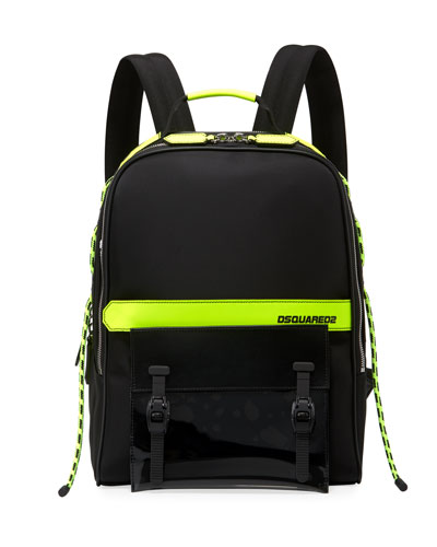 Men's Multi-Zip Canvas Backpack w/ Leather Trim