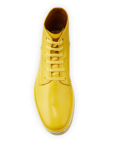 Men's Alpistar Leather High-Top Sneakers, Yellow