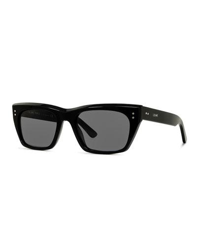 Men's Square Acetate Sunglasses  Black