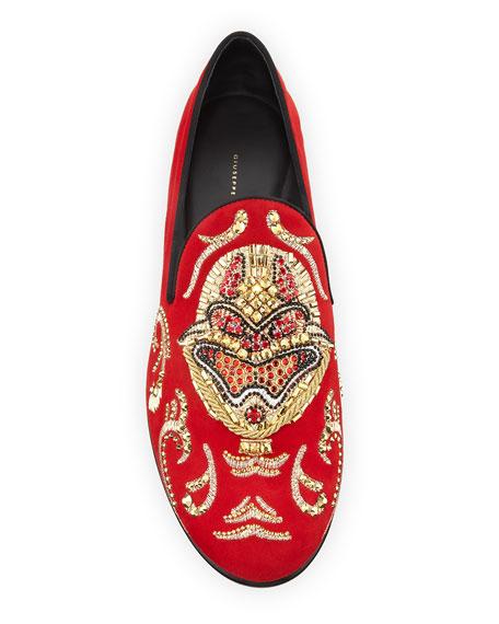 Men's Kevin Crystal-Studded Suede Evening Shoes