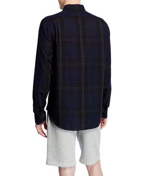 Men's Linen-Blend Plaid Sport Shirt