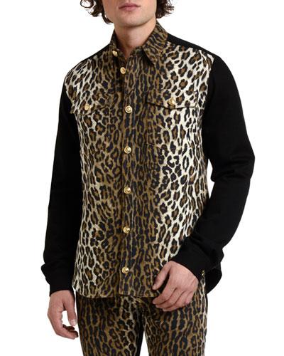 Men's Twill Leopard-Print Shirt Jacket