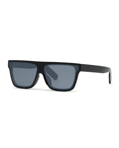 Men's Flat-Top Acetate Sunglasses  Black