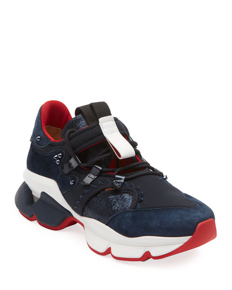 Men's Red Runner Spiked-Trim Tricolor Active Sneakers