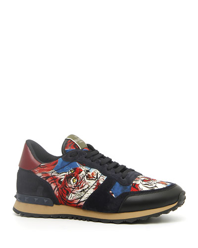 Men's Rock Runner Tiger-Print Trainer Sneakers