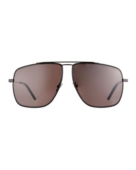 Men's Square Metal Brow-Bar Sunglasses
