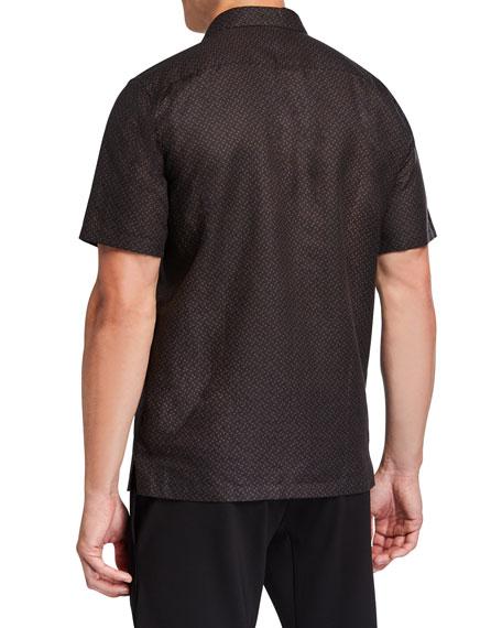 Men's Linen-Cotton Patterned Sport Shirt