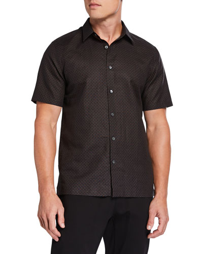 Men's Linen-Cotton Patterned Sport Shirt