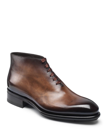 Men's Lay One-Piece Leather Ankle Boots