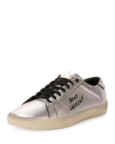 Men's Low-Top Metallic Leather Sneaker