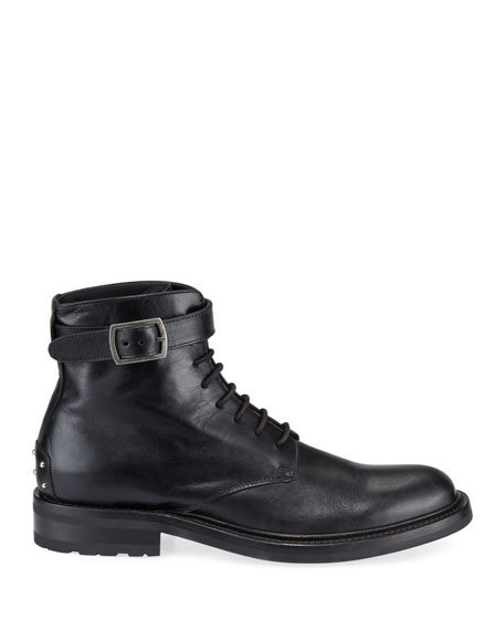 Men's Leather Studded-Heel Moto Boots