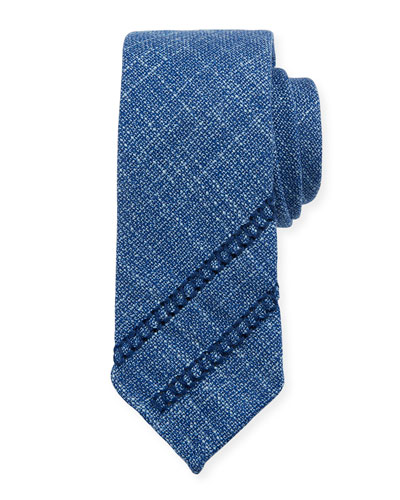 Hopsack Knit Tie w/ Diagonal Embroidery