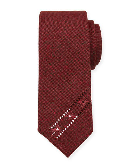 Image 1 of 1: Hopsack Knit Tie w/ Diagonal Embroidery, Red