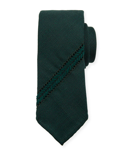 Hopsack Knit Tie w/ Diagonal Stripe  Teal
