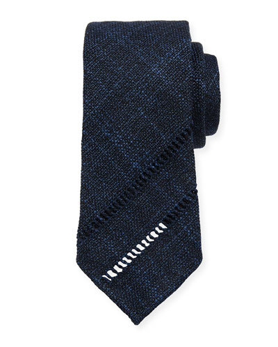 Melange Knit Tie w/ Diagonal Embroidery, Blue