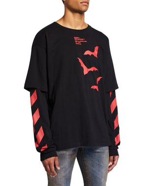 Off-White Men's Double-Sleeve Stripe & Bat Logo Shirt