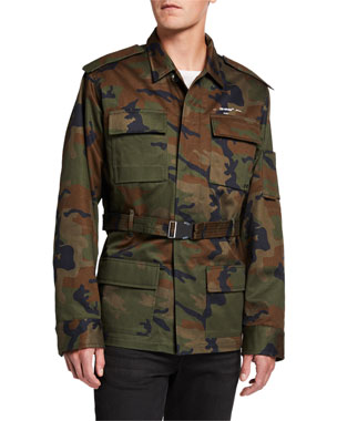 Off-White Men's Camo Twill Military Jacket