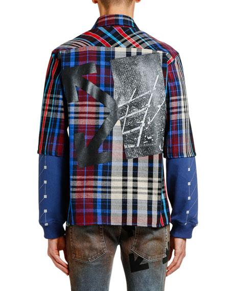 Men's Jersey-Sleeve Plaid Sport Shirt