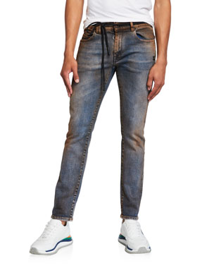Off-White Men's Arrow Short Skinny Dirty Jeans