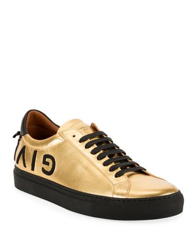 Men's Metallic Leather Low-Top Sneakers
