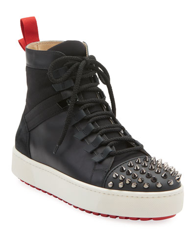 Men's Spike Leather Red Sole Trainer Sneakers