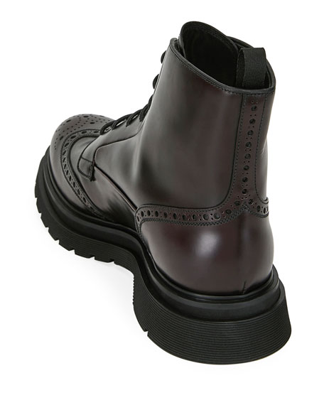 Men's Wing-Tip Leather Combat Boots