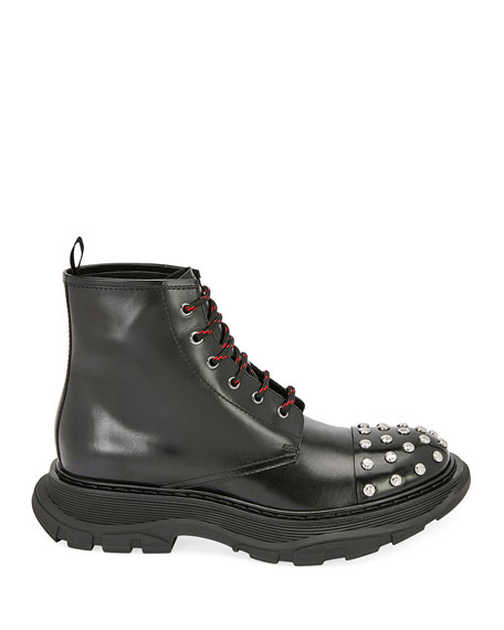 Men's Studded Leather Combat Boots
