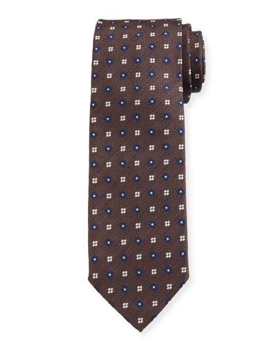 Men's Flower-Print Oxford Silk Tie