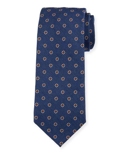 Men's Floral Silk-Wool Tie  Blue