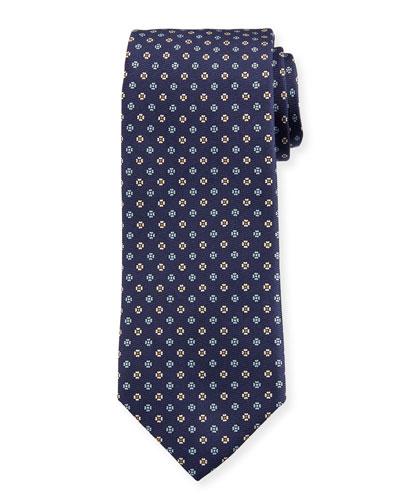 Men's Small Floral Silk Tie  Dark Blue