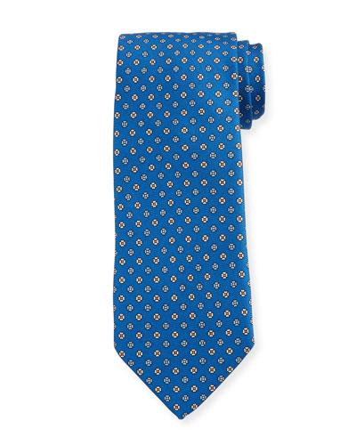 Men's Small Floral Silk Tie  Bright Blue